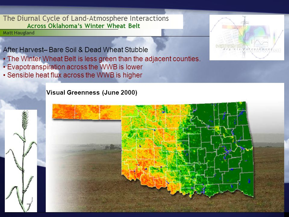 Matt Haugland Across Oklahoma's Winter Wheat Belt The Diurnal Cycle of Land-Atmosphere Interactions After Harvest– Bare Soil & Dead Wheat Stubble Visual Greenness (June 2000) The Winter Wheat Belt is less green than the adjacent counties.