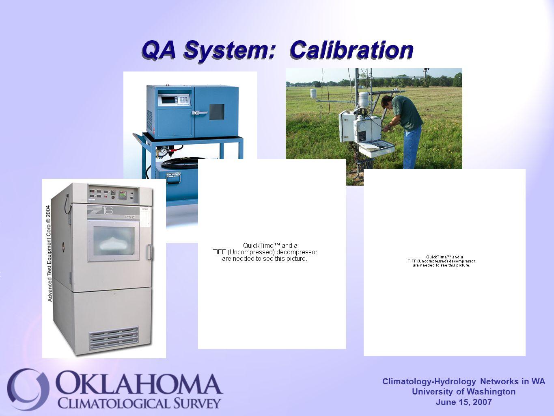 Climatology-Hydrology Networks in WA University of Washington June 15, 2007 QA System: Calibration