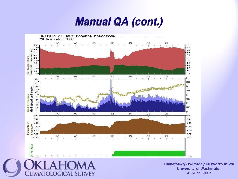 Climatology-Hydrology Networks in WA University of Washington June 15, 2007 Manual QA (cont.)