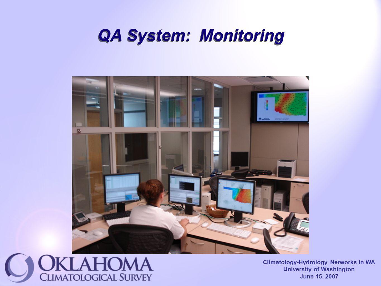 Climatology-Hydrology Networks in WA University of Washington June 15, 2007 QA System: Monitoring