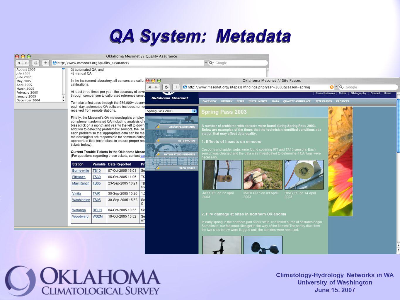 Climatology-Hydrology Networks in WA University of Washington June 15, 2007 QA System: Metadata