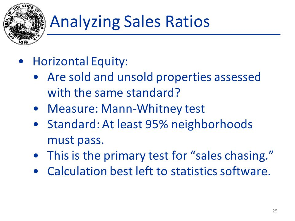 Analyzing Sales Ratios Horizontal Equity: Are sold and unsold properties assessed with the same standard.