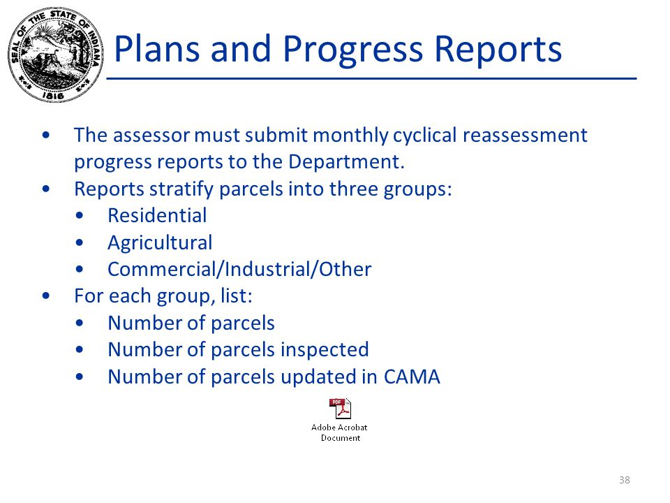 Plans and Progress Reports The assessor must submit monthly cyclical reassessment progress reports to the Department.