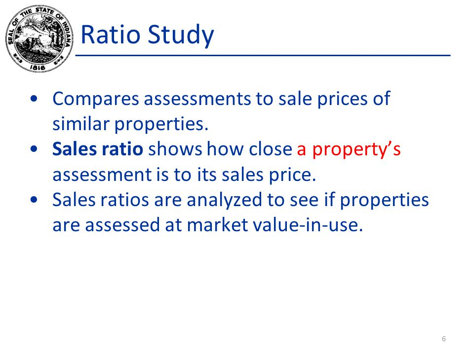 The Sales Ratio A property's Assessed Value divided by its Sale Price. Assessed Value Sales Price