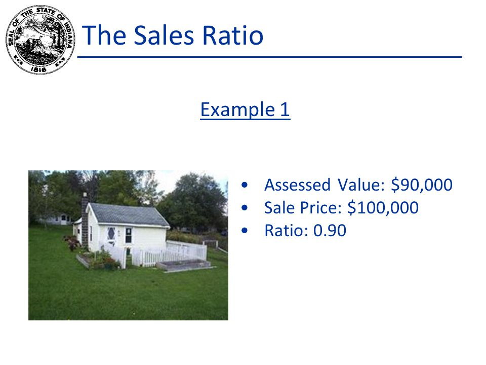 The Sales Ratio Assessed Value: $90,000 Sale Price: $100,000 Ratio: 0.90 Example 1