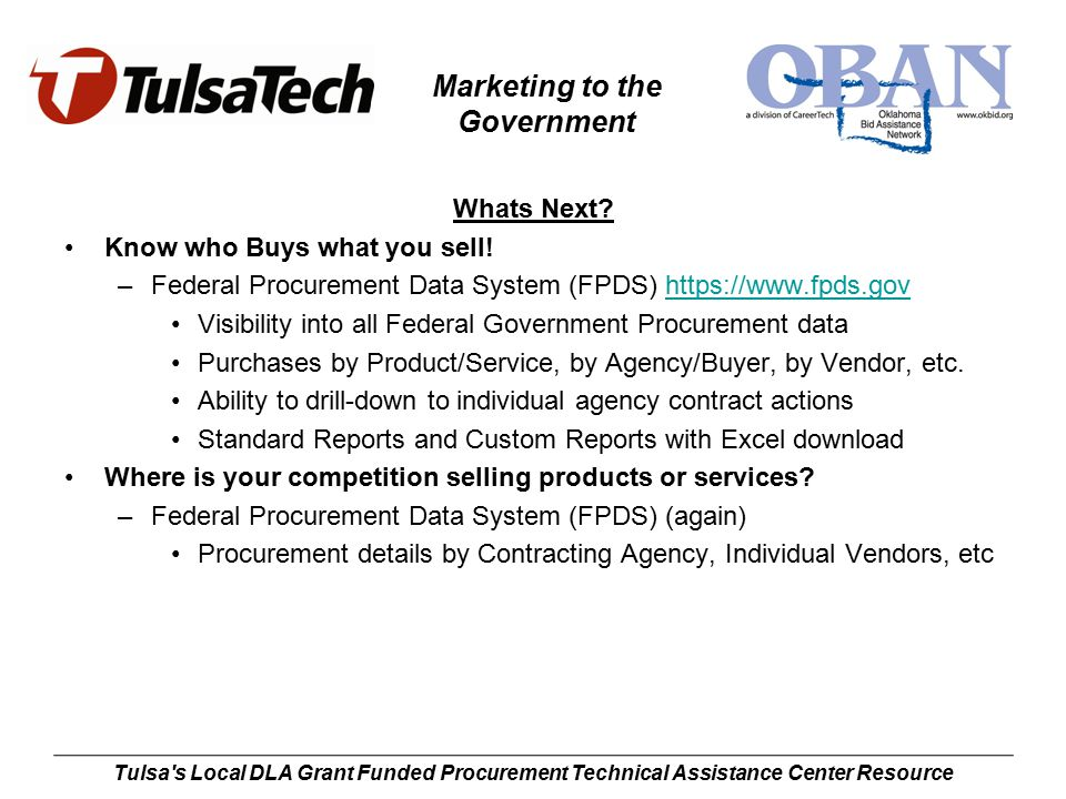 Marketing to the Government Tulsa s Local DLA Grant Funded Procurement Technical Assistance Center Resource Whats Next.