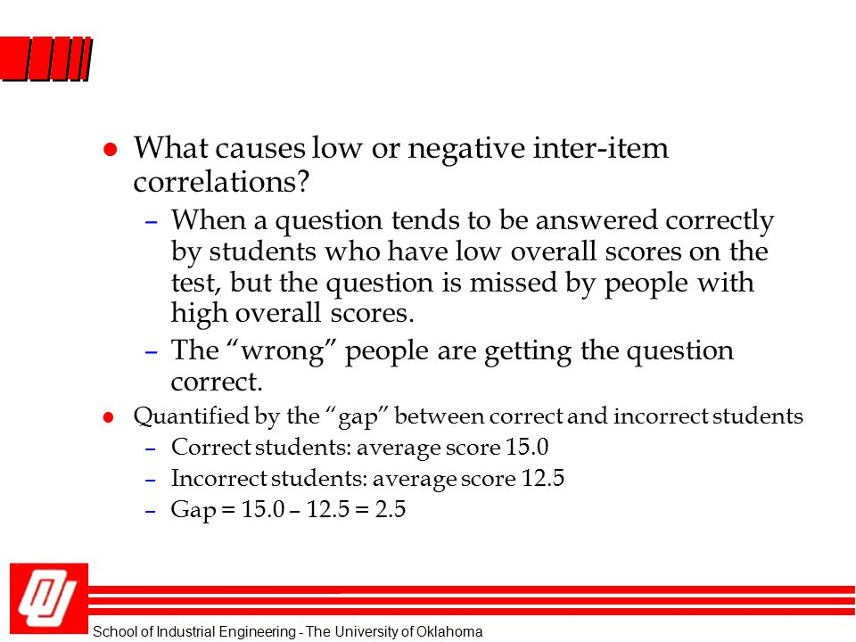l What causes low or negative inter-item correlations? –When a question tends to be answered correctly by students who have low overall scores on the