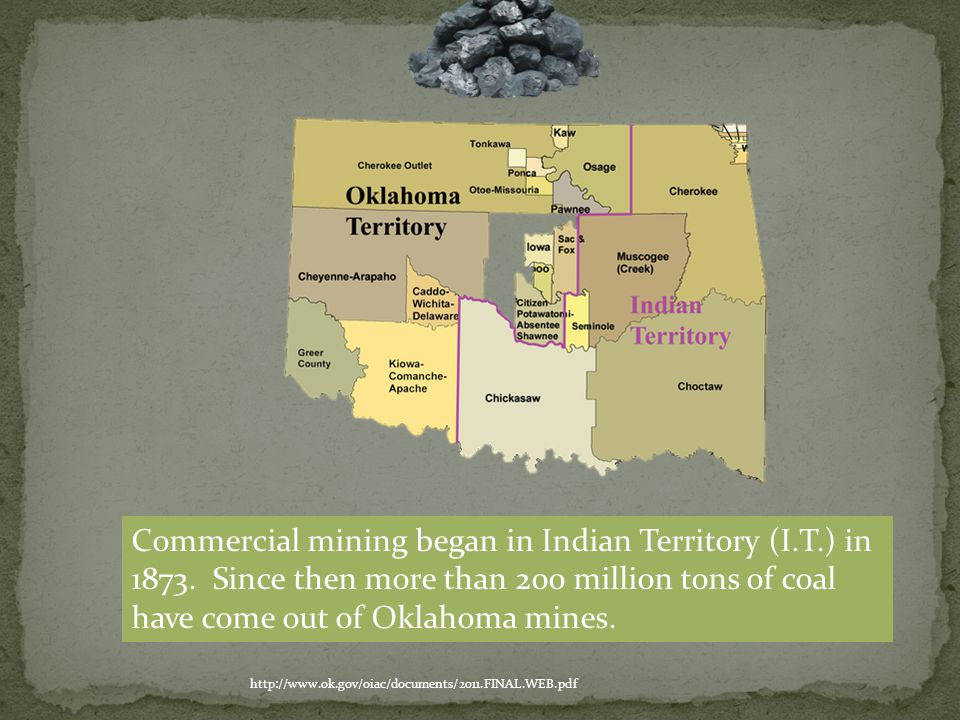 http://www.ok.gov/mines/Coal_Program/Oklahoma_Coal/ Oklahoma lies in the Western Region of the Interior Coal Province of the central U.S.