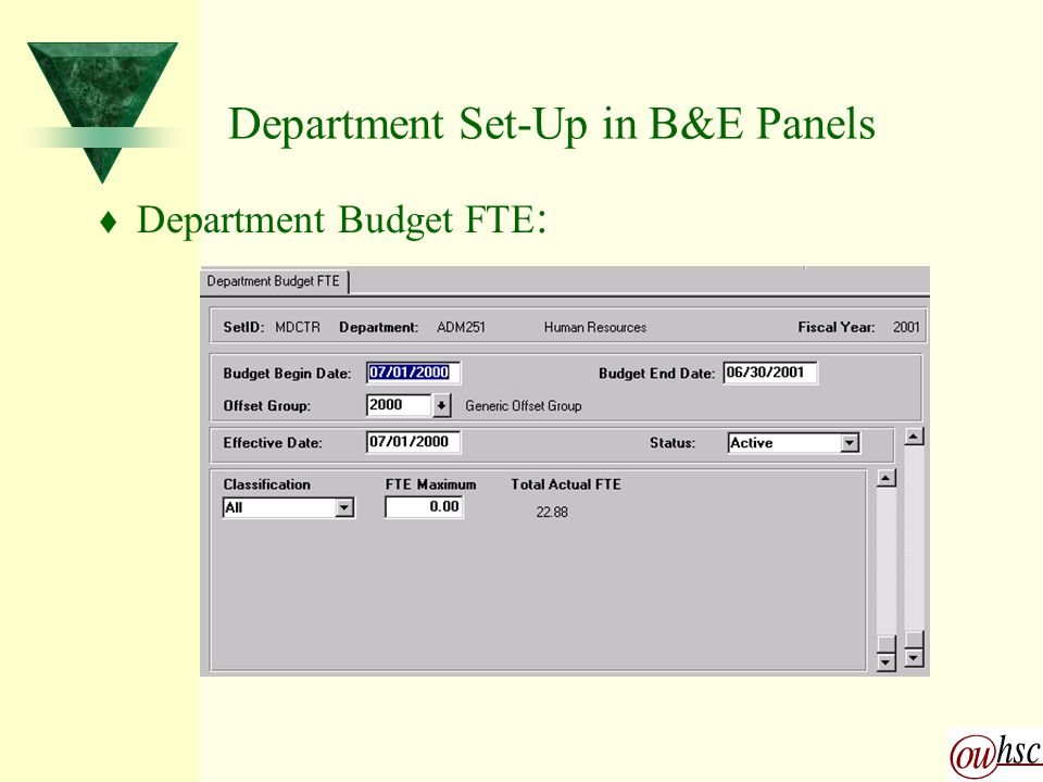 Department Set-Up in B&E Panels t Department Budget FTE :