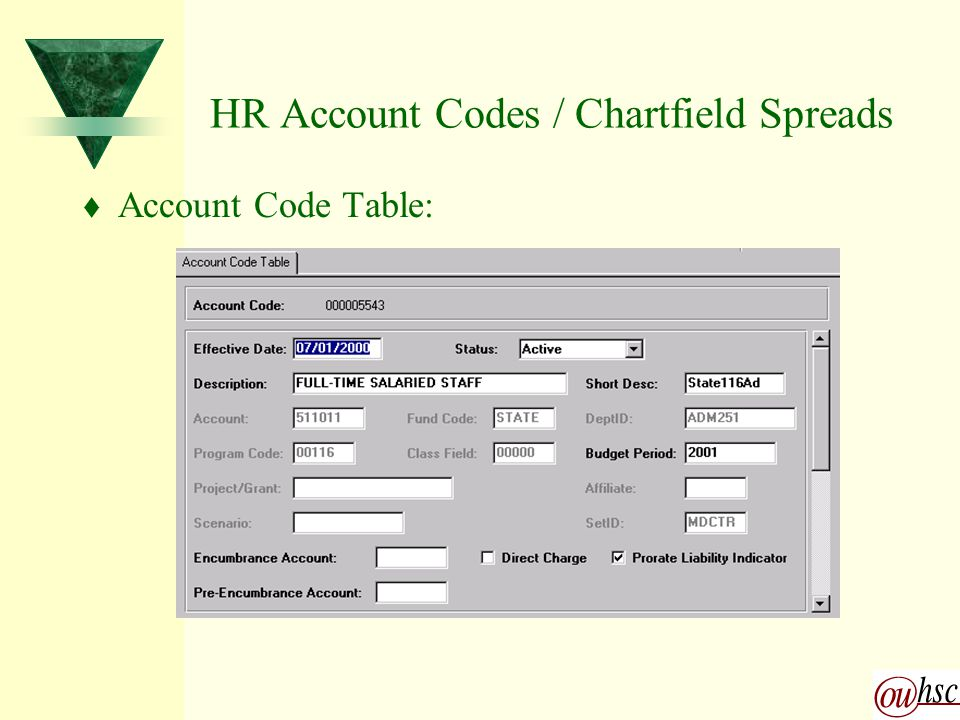 HR Account Codes / Chartfield Spreads t Account Code Table: