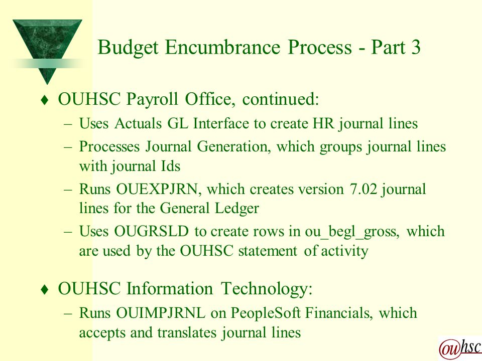 Budget Encumbrance Process - Part 3 t OUHSC Payroll Office, continued: –Uses Actuals GL Interface to create HR journal lines –Processes Journal Generation, which groups journal lines with journal Ids –Runs OUEXPJRN, which creates version 7.02 journal lines for the General Ledger –Uses OUGRSLD to create rows in ou_begl_gross, which are used by the OUHSC statement of activity t OUHSC Information Technology: –Runs OUIMPJRNL on PeopleSoft Financials, which accepts and translates journal lines