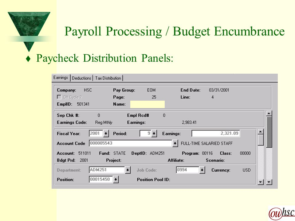 Payroll Processing / Budget Encumbrance t Paycheck Distribution Panels: