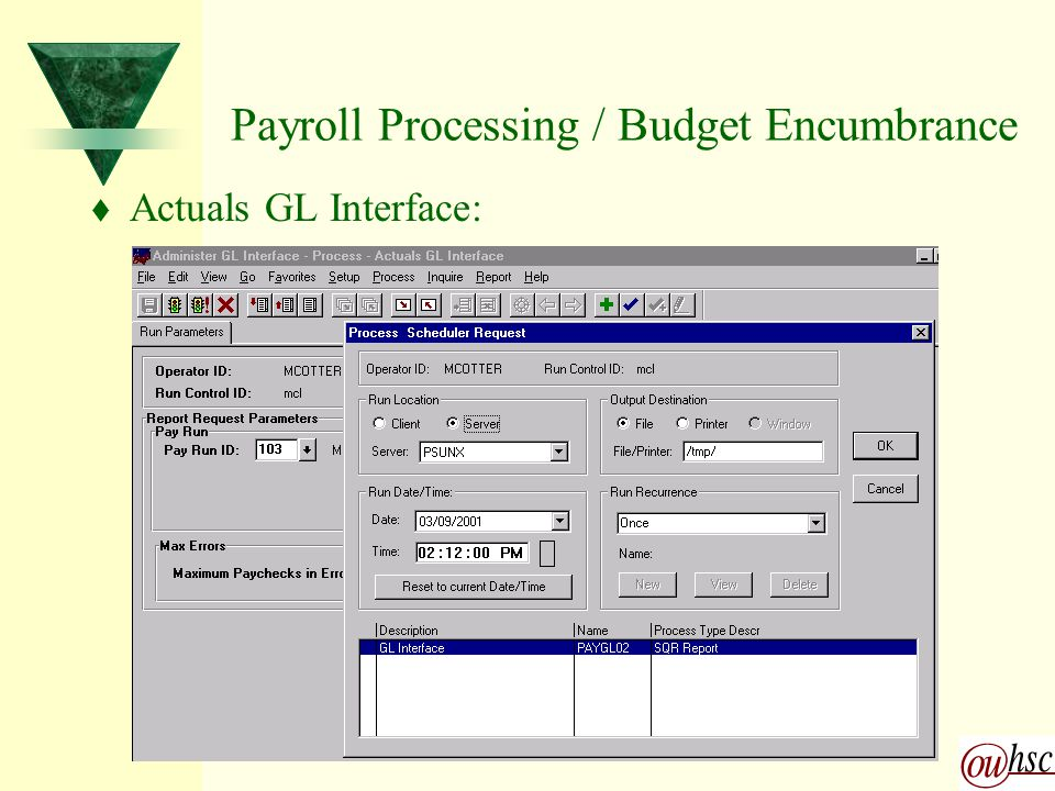Payroll Processing / Budget Encumbrance t Actuals GL Interface: