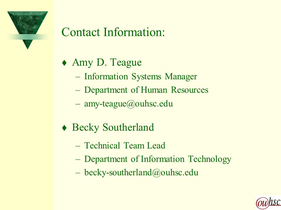 Contact Information: t Amy D.