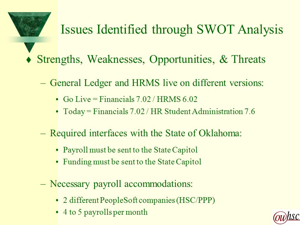 SWOT Implementation Parameters t Strengths, Weaknesses, Opportunities, & Threats –Cost/Benefit Analysis: Limitations of the encumbrance feature led to the determination that encumbering would not be appropriate at the time of B&E implementation The Budget Encumbrance module was found to provide an appropriate interface between the PeopleSoft Human Resources and Financials systems –Current Status: B&E module acts as an interface between the HR & GL systems OUHSC plans to revisit the encumbrance functionality of the module during the upgrade from HRSA 7.6 to 8.0