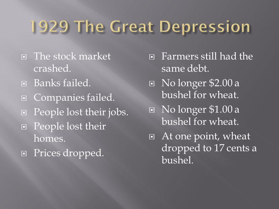  The stock market crashed.  Banks failed.  Companies failed.