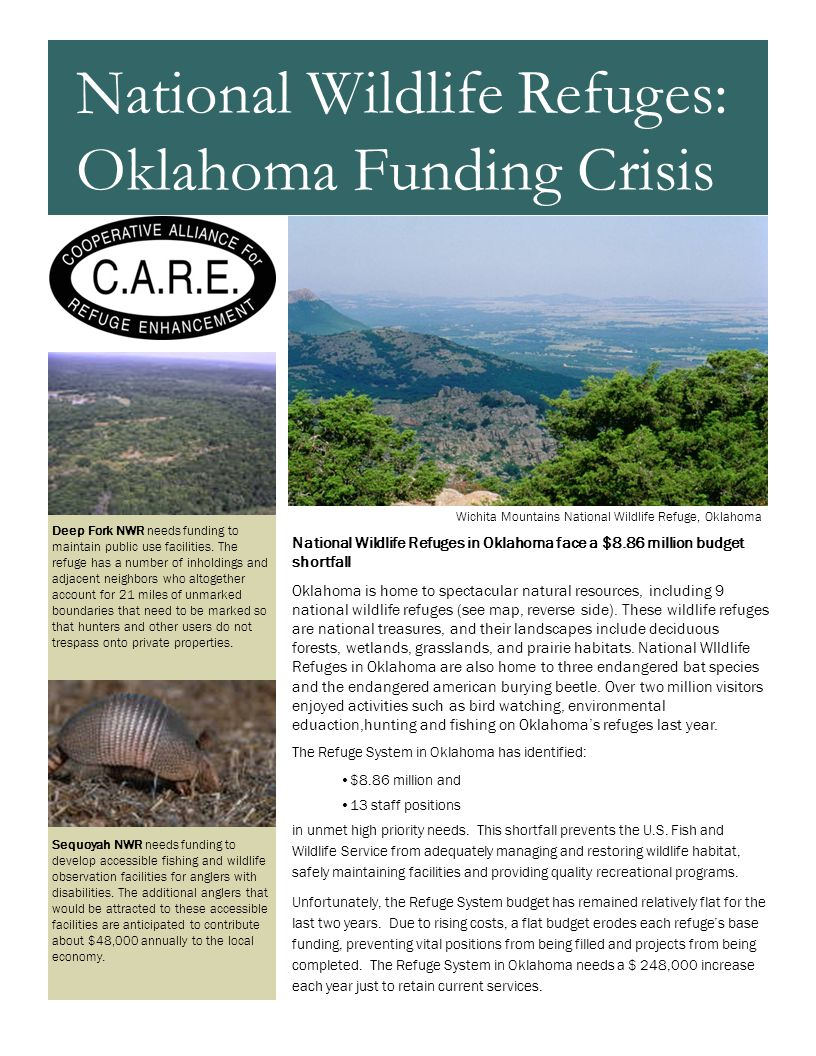 National Wildlife Refuges in Oklahoma face a $8.86 million budget shortfall Oklahoma is home to spectacular natural resources, including 9 national wildlife refuges (see map, reverse side).