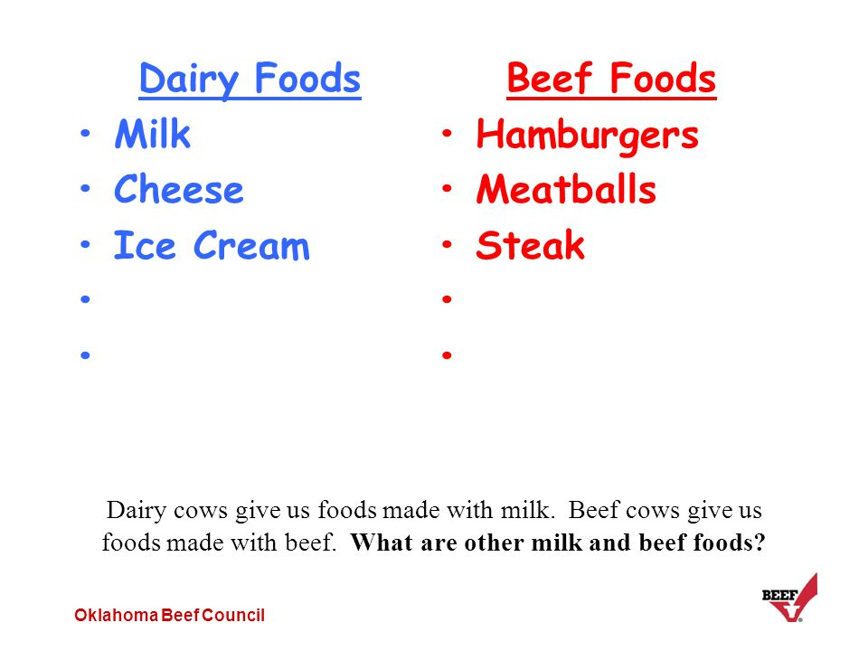 Oklahoma Beef Council Dairy cows give us foods made with milk. Beef cows give us foods made with beef. What are other milk and beef foods? Dairy Foods