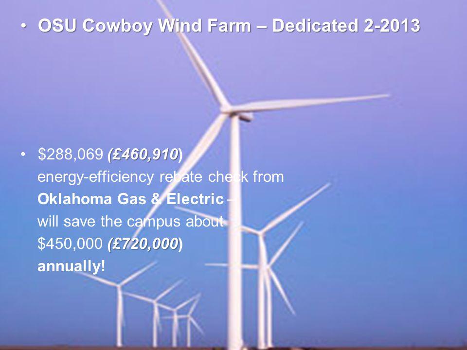 OSU Cowboy Wind Farm – Dedicated 2-2013OSU Cowboy Wind Farm – Dedicated 2-2013 (£460,910$288,069 (£460,910) energy-efficiency rebate check from Oklahoma Gas & Electric – will save the campus about (£720,000 $450,000 (£720,000) annually!