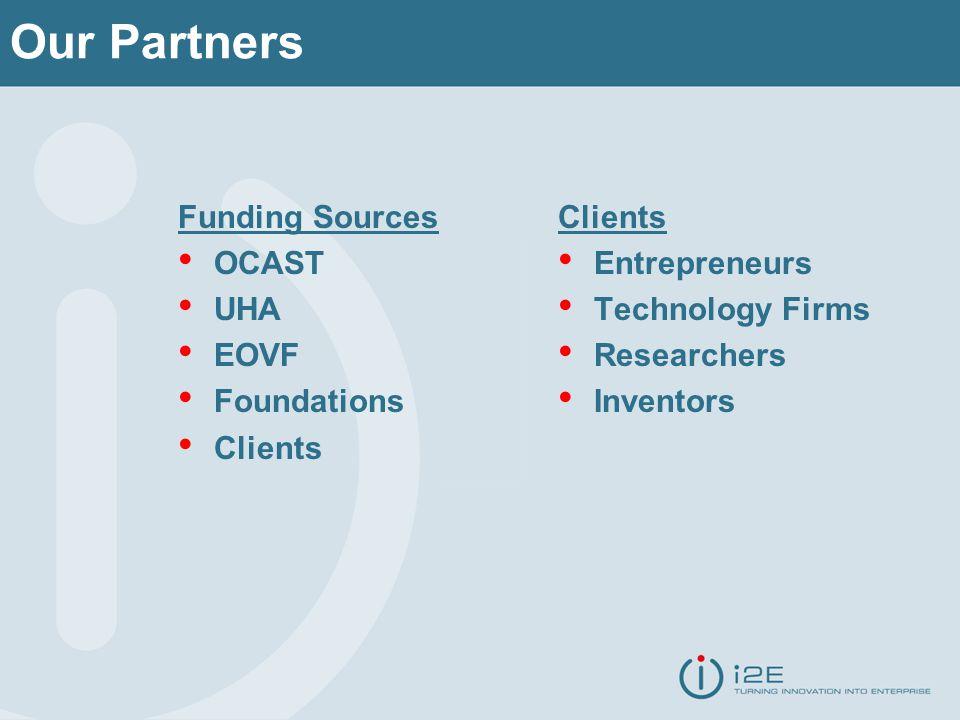 Our Partners Funding Sources OCAST UHA EOVF Foundations Clients Entrepreneurs Technology Firms Researchers Inventors