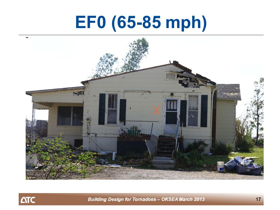 Building Design for Tornadoes – OKSEA March 201317 EF0 (65-85 mph)