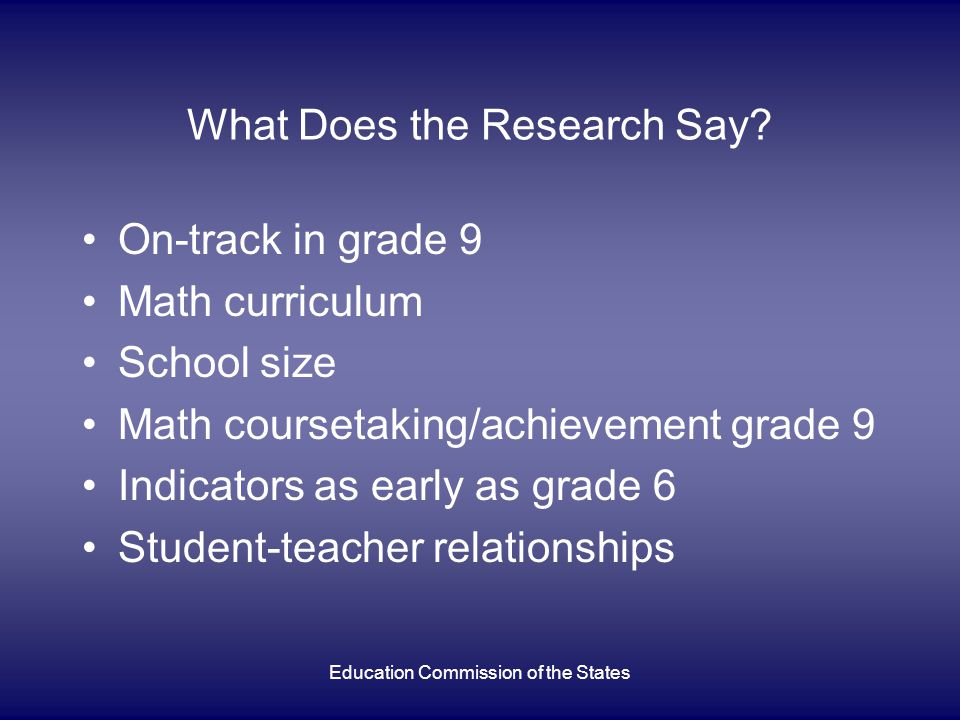 Education Commission of the States What Does the Research Say.