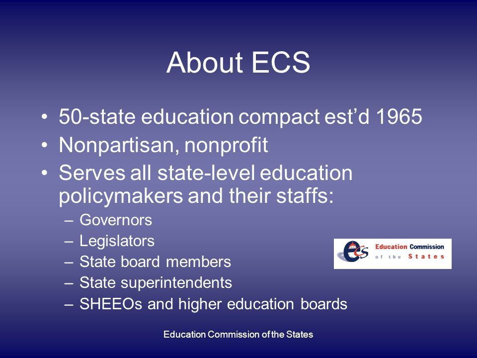 Education Commission of the States Overview of Presentation National perspective on dropouts Implications of dropping out What the research says What states are doing