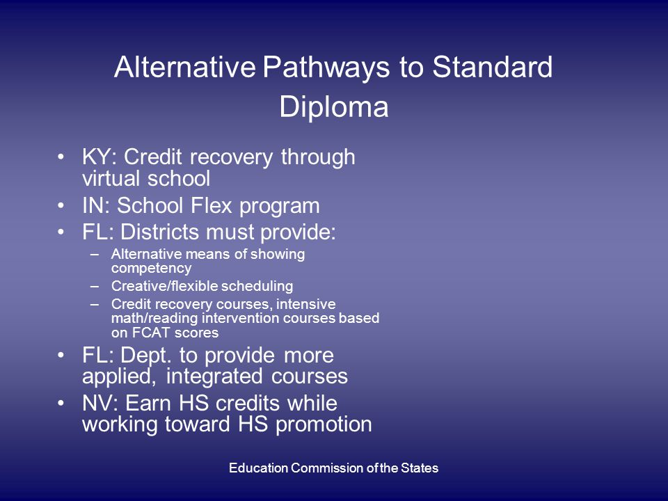 Education Commission of the States Alternative Pathways to Standard Diploma KY: Credit recovery through virtual school IN: School Flex program FL: Districts must provide: –Alternative means of showing competency –Creative/flexible scheduling –Credit recovery courses, intensive math/reading intervention courses based on FCAT scores FL: Dept.