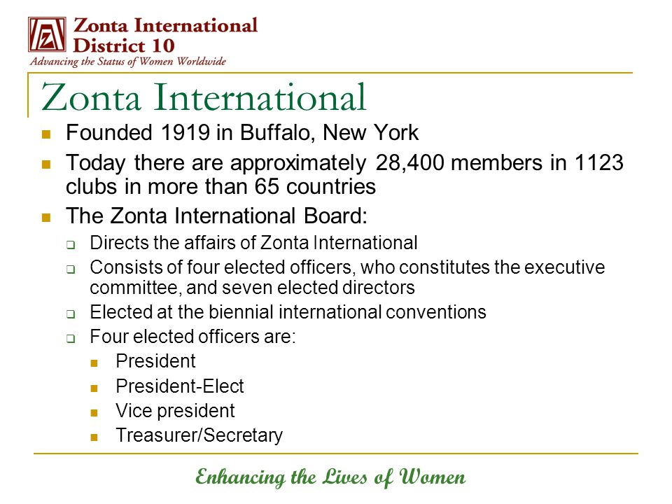 Enhancing the Lives of Women Zonta International Founded 1919 in Buffalo, New York Today there are approximately 28,400 members in 1123 clubs in more