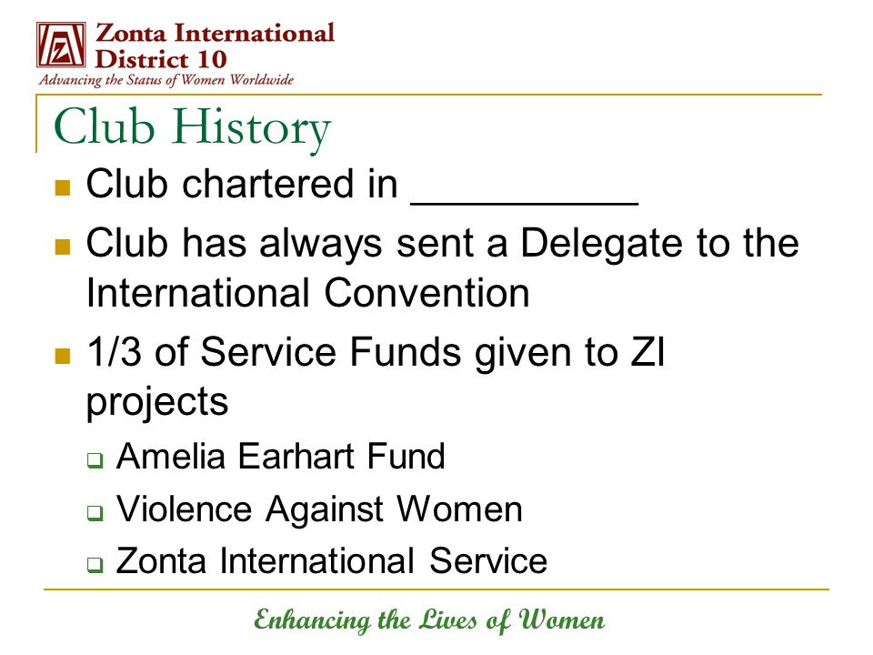Enhancing the Lives of Women Club History Club chartered in __________ Club has always sent a Delegate to the International Convention 1/3 of Service