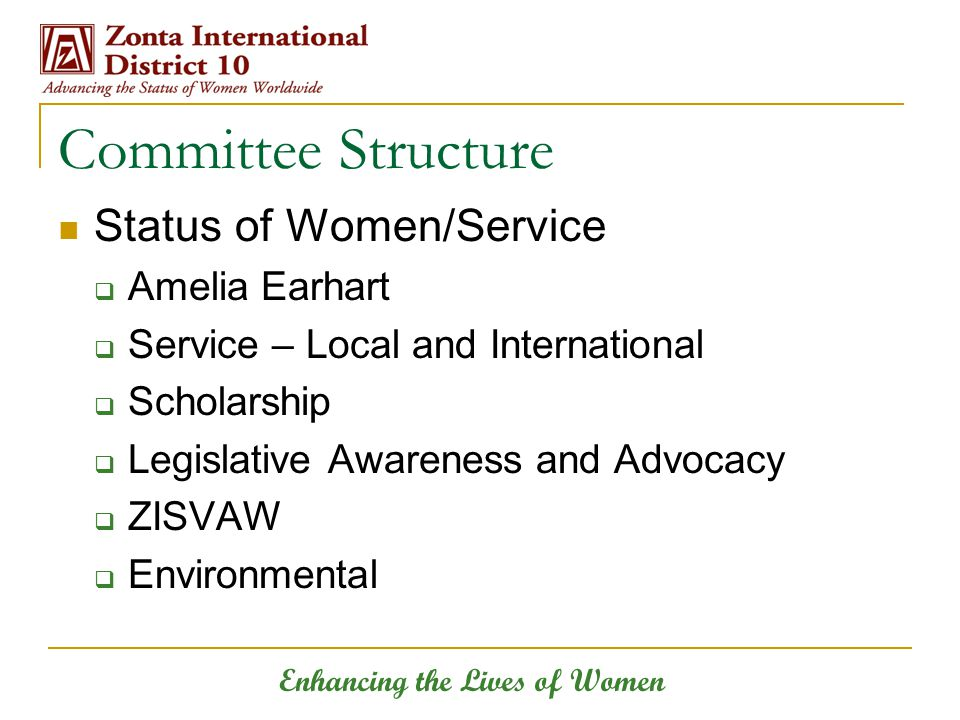 Enhancing the Lives of Women Committee Structure Status of Women/Service  Amelia Earhart  Service – Local and International  Scholarship  Legislative Awareness and Advocacy  ZISVAW  Environmental