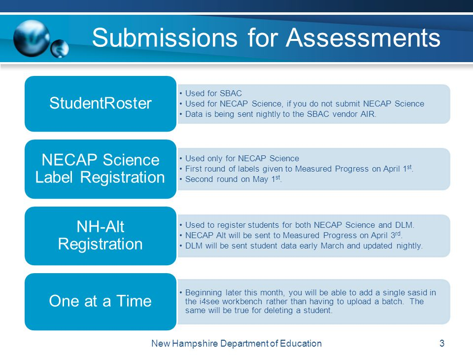 Submissions for Assessments 3 Used for SBAC Used for NECAP Science, if you do not submit NECAP Science Data is being sent nightly to the SBAC vendor AIR.