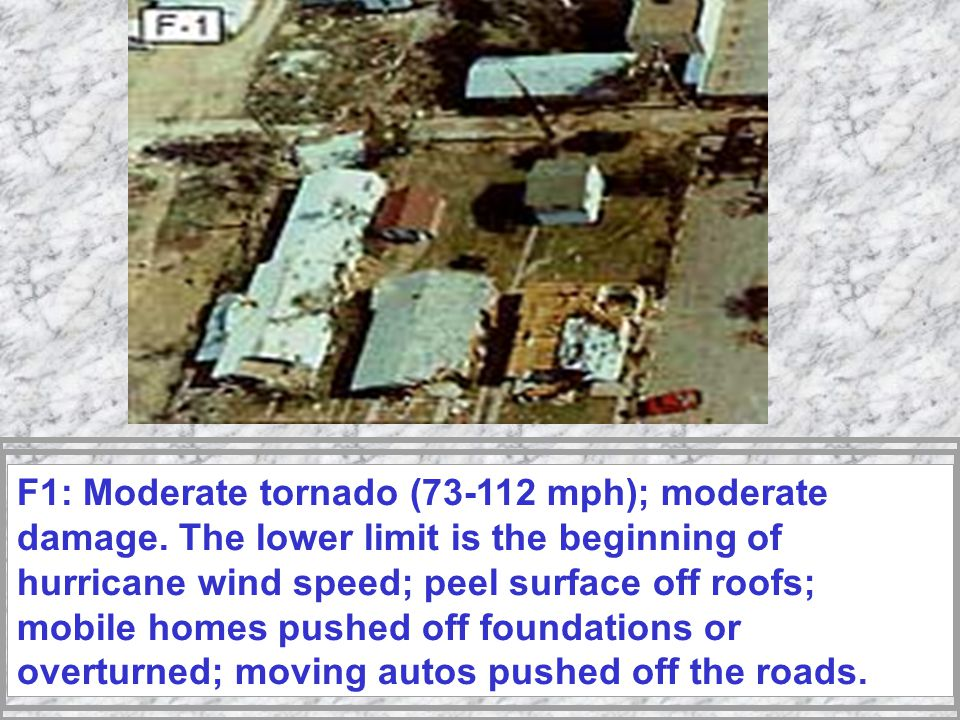 Fujita Tornado Intensity Scale The Fujita scale, or F scale, categorizes tornado severity based on observed damage to man-made structures and not on recorded wind speeds.