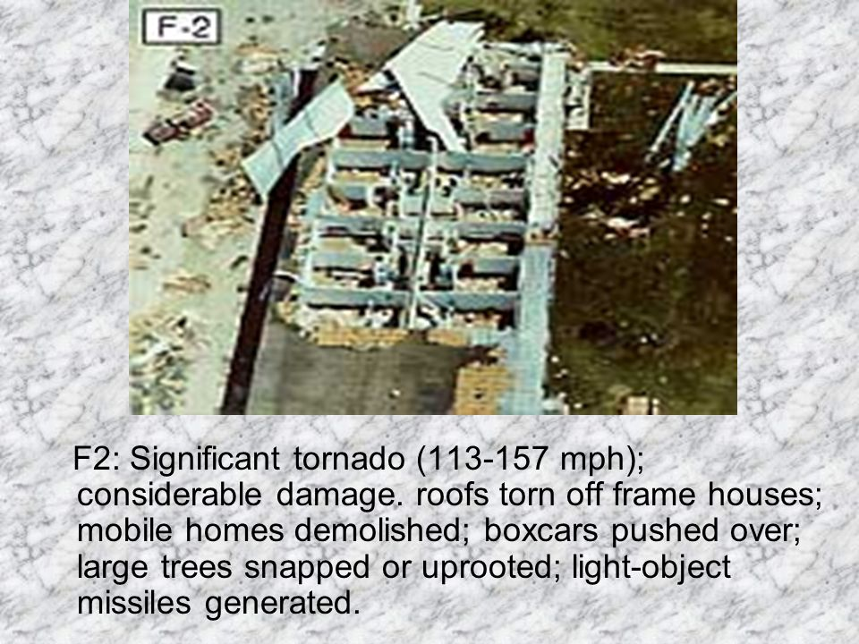 F1: Moderate tornado (73-112 mph); moderate damage. The lower limit is the beginning of hurricane wind speed; peel surface off roofs; mobile homes pus