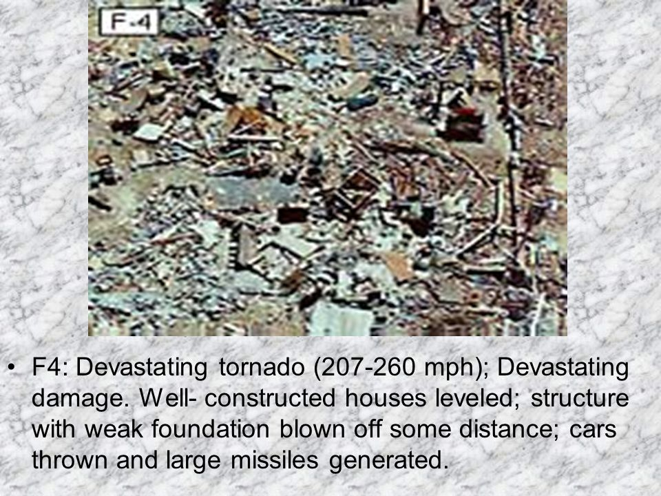 F3: Severe tornado (158-206 mph); Severe damage. Roofs and some walls torn off well-constructed houses; trains overturned; most trees in forest uproot