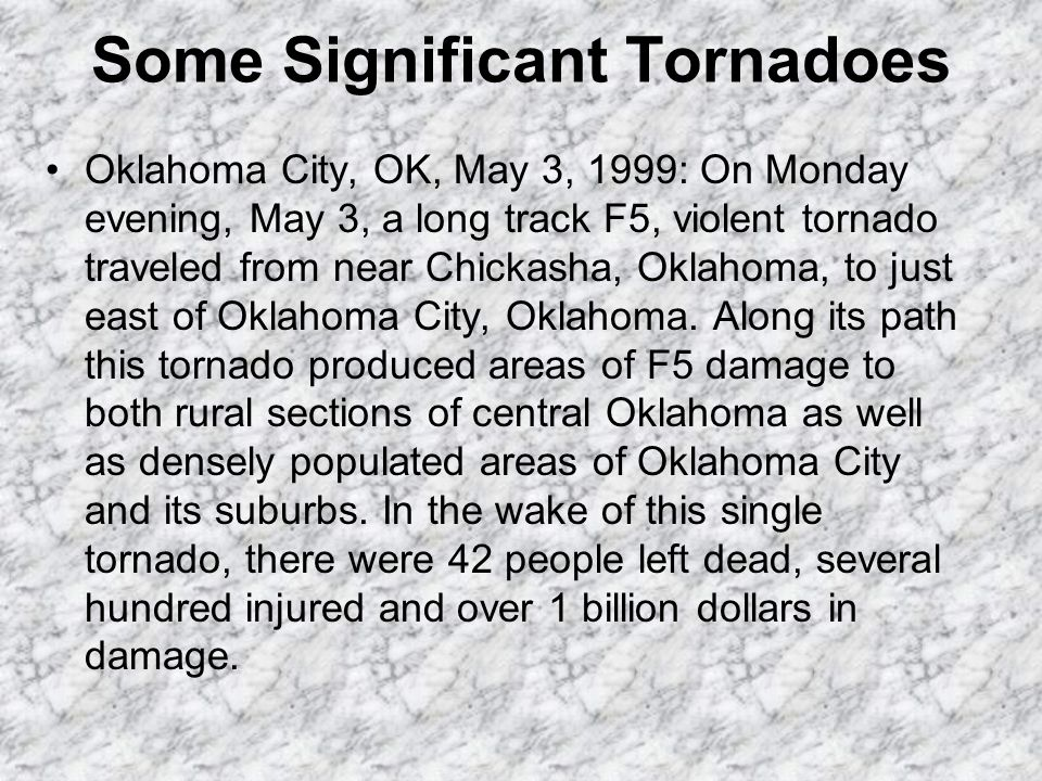 F5: Incredible tornado (261-318 mph); Incredible damage. Strong frame houses lifted off foundations and carried considerable distance to disintegrate;