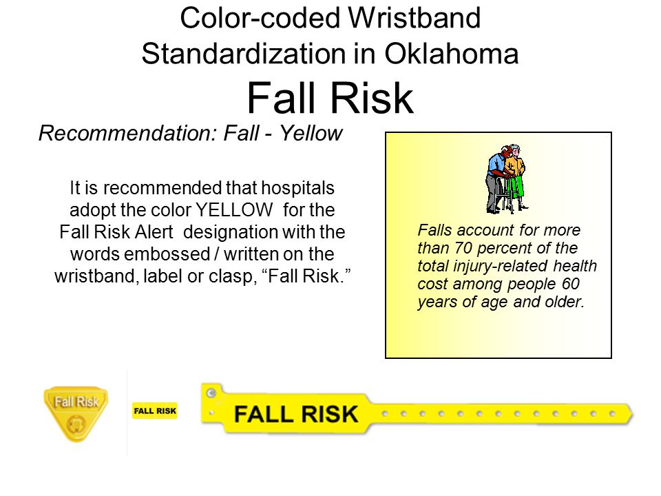 Color-coded Wristband Standardization in Oklahoma Fall Risk Recommendation: Fall - Yellow It is recommended that hospitals adopt the color YELLOW for