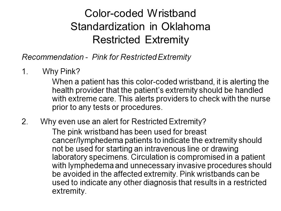Color-coded Wristband Standardization in Oklahoma Latex Allergy Recommendation - Green for Latex Allergy It is recommended that hospitals adopt the color of GREEN for the latex allergy alert designation with the words embossed/written on the wristband or clasp, Latex Allergy.