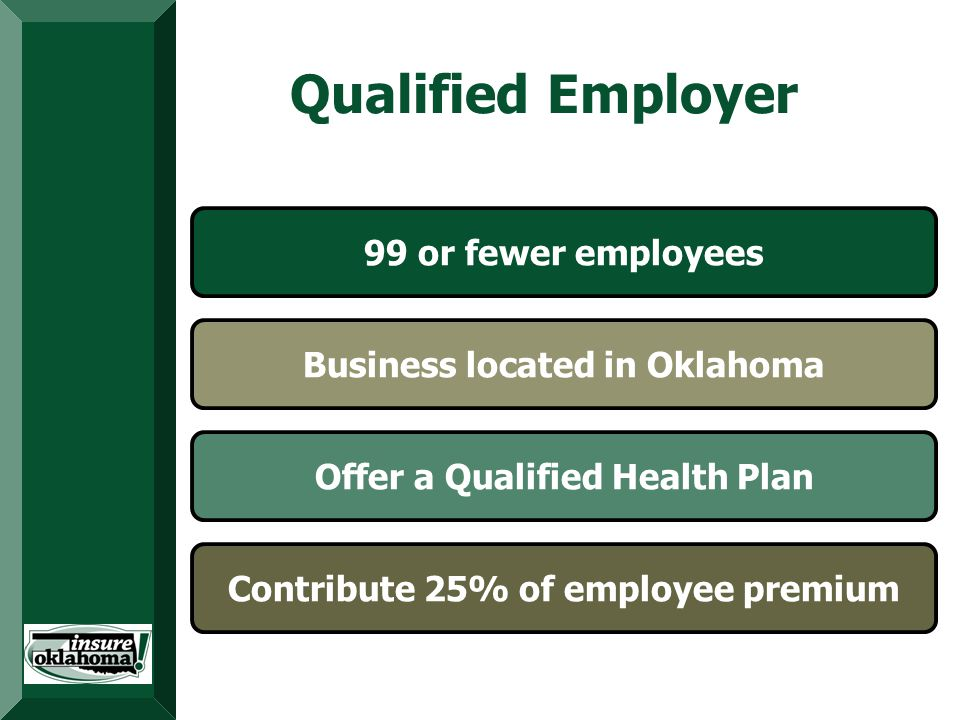 Provides Premium Assistance Targets Low-Income Uninsured Adults Dedicated Funding Source Qualified Employer 99 or fewer employees Business located in Oklahoma Offer a Qualified Health Plan Contribute 25% of employee premium