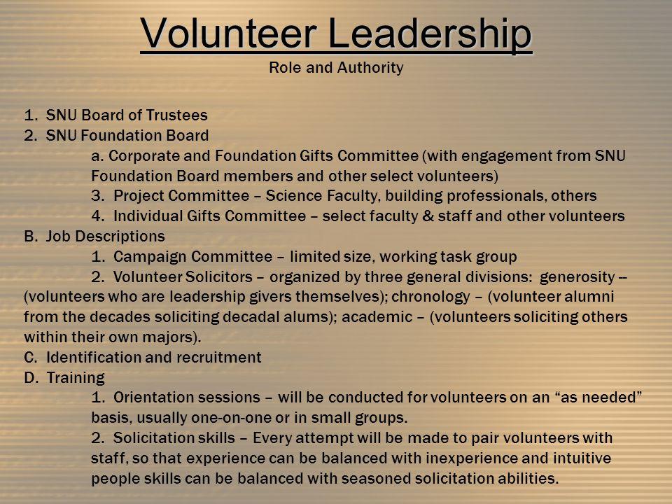 Volunteer Leadership Volunteer Leadership Role and Authority 1.
