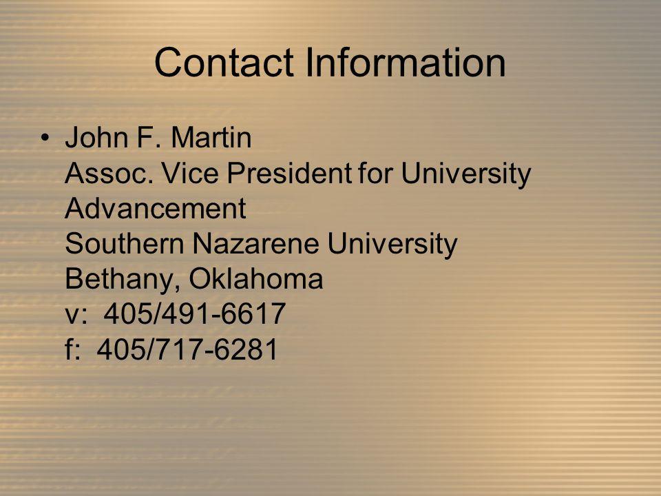 Contact Information John F. Martin Assoc.
