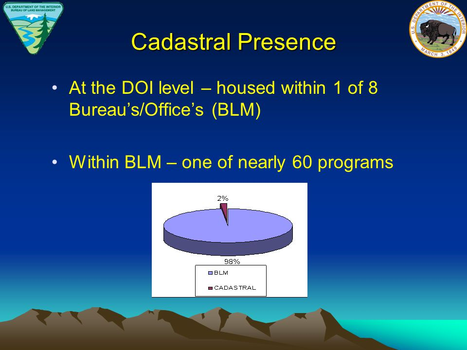 Cadastral Presence At the DOI level – housed within 1 of 8 Bureau's/Office's (BLM) Within BLM – one of nearly 60 programs