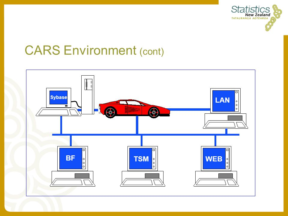 CARS Environment (cont) BF TSM WEB LAN Sybase