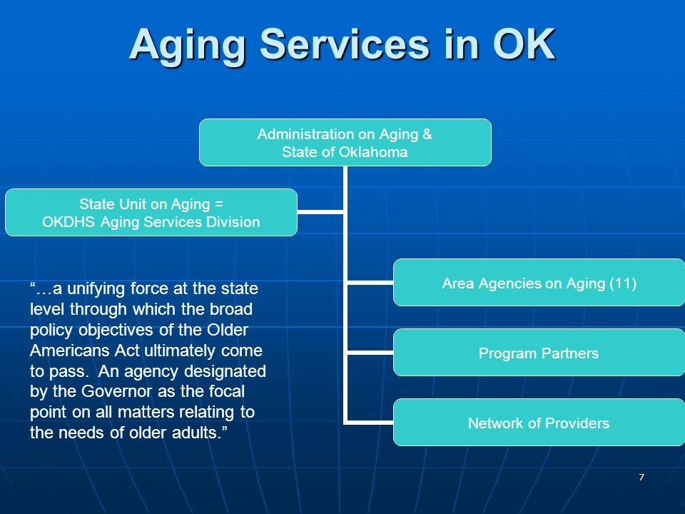 7 Aging Services in OK Administration on Aging & State of Oklahoma Area Agencies on Aging (11) Program Partners Network of Providers State Unit on Aging = OKDHS Aging Services Division …a unifying force at the state level through which the broad policy objectives of the Older Americans Act ultimately come to pass.