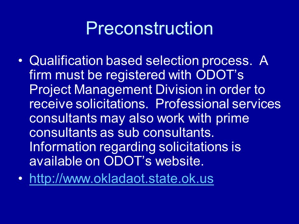 Preconstruction Qualification based selection process.
