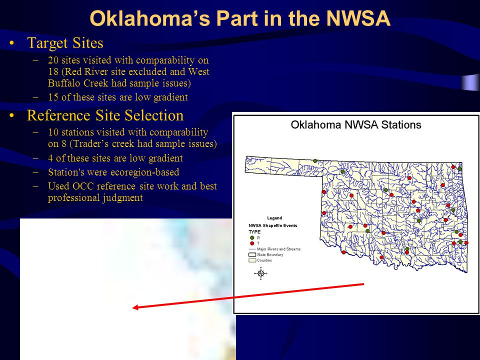 Oklahoma's Part in the NWSA Target Sites –20 sites visited with comparability on 18 (Red River site excluded and West Buffalo Creek had sample issues) –15 of these sites are low gradient Reference Site Selection –10 stations visited with comparability on 8 (Trader's creek had sample issues) –4 of these sites are low gradient –Station s were ecoregion-based –Used OCC reference site work and best professional judgment