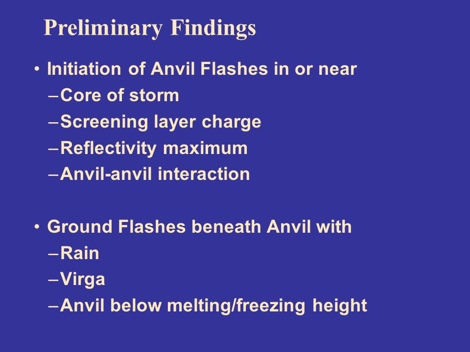 Initiation of Anvil Flashes in or near –Core of storm –Screening layer charge –Reflectivity maximum –Anvil-anvil interaction Ground Flashes beneath Anvil with –Rain –Virga –Anvil below melting/freezing height Preliminary Findings