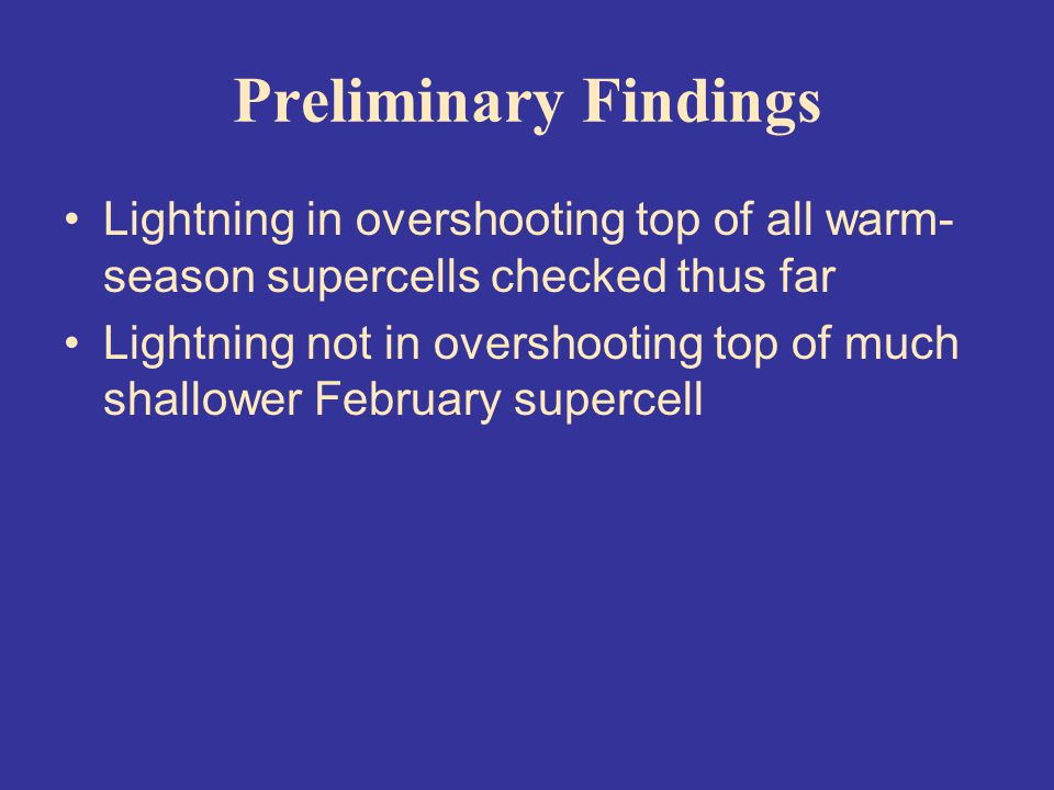 Preliminary Findings Lightning in overshooting top of all warm- season supercells checked thus far Lightning not in overshooting top of much shallower February supercell