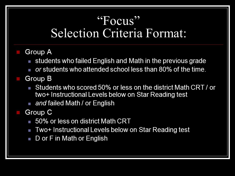 Focus Selection Criteria Format: Group A students who failed English and Math in the previous grade or students who attended school less than 80% of the time.