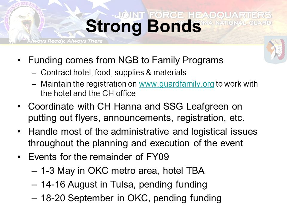 Strong Bonds Funding comes from NGB to Family Programs –Contract hotel, food, supplies & materials –Maintain the registration on www.guardfamily.org t